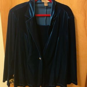 Blue velvet two-fer shirt